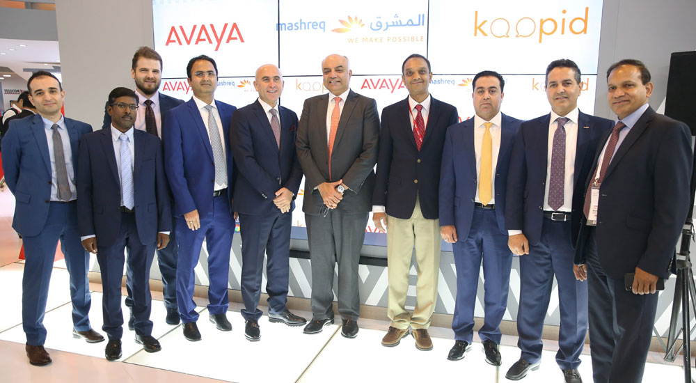 Second from right is Fadi Hani, Vice President – Middle East, Turkey & Africa, Avaya and fifth from right is Sandeep Chouhan, Head of Operations and Technology, Mashreq