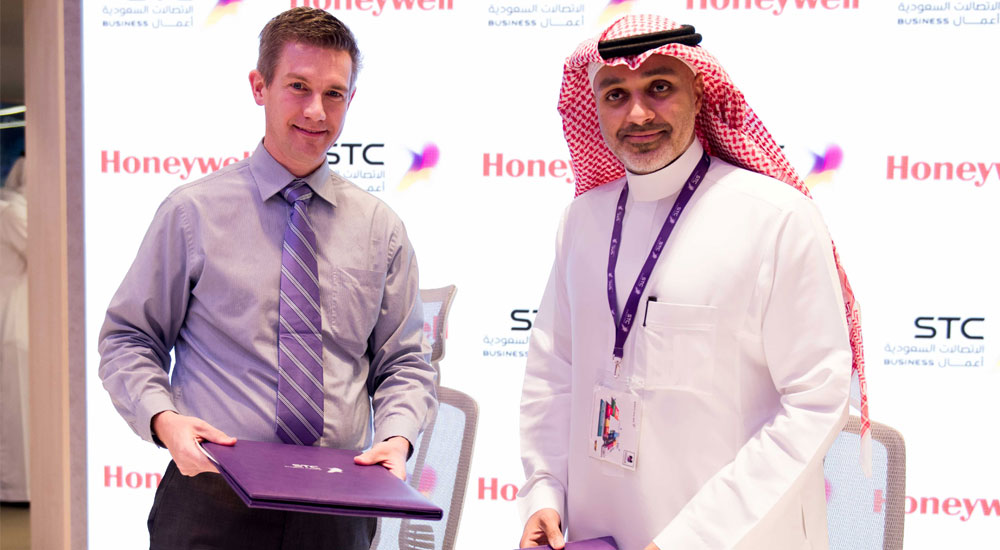 From left to right: John Waldron, President and CEO of Honeywell Safety and Productivity Solutions (SPS) with Eng. Riyad Muawwad, Chairman of the Board of Directors of STC Solutions.