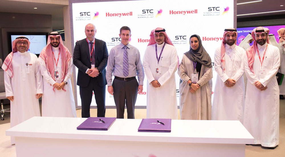 Representatives from STC and Honeywell are seen after the signing ceremony, which took place at GITEX Technology Week 2019 in Dubai, United Arab Emirates.