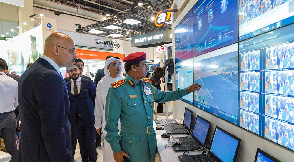 Visitors at Intersec, a trade fair for security, safety and fire protection