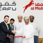Jean-Francois Lapierre, GM of CAFU International and Eng Hamed bin Salim Al Maghdri, CEO of Al Maha Petroleum announcing the new partnership, in the presence of senior CAFU and Al Maha executives