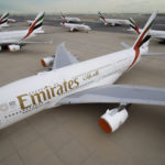 Emirates parked planes.