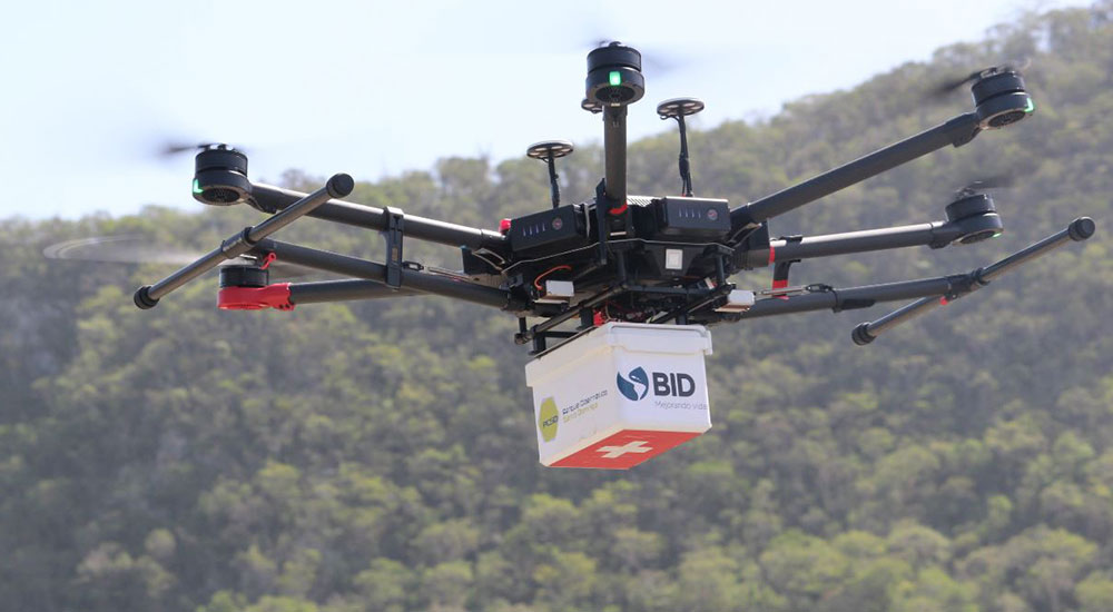 A DJI drone used for delivery of medical supplies.