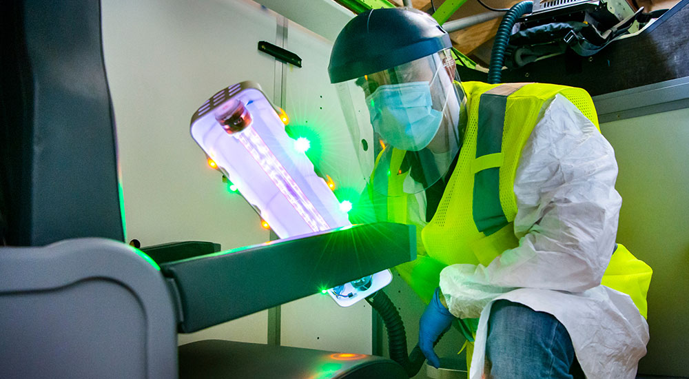Boeing's ultraviolet light disinfecting system.