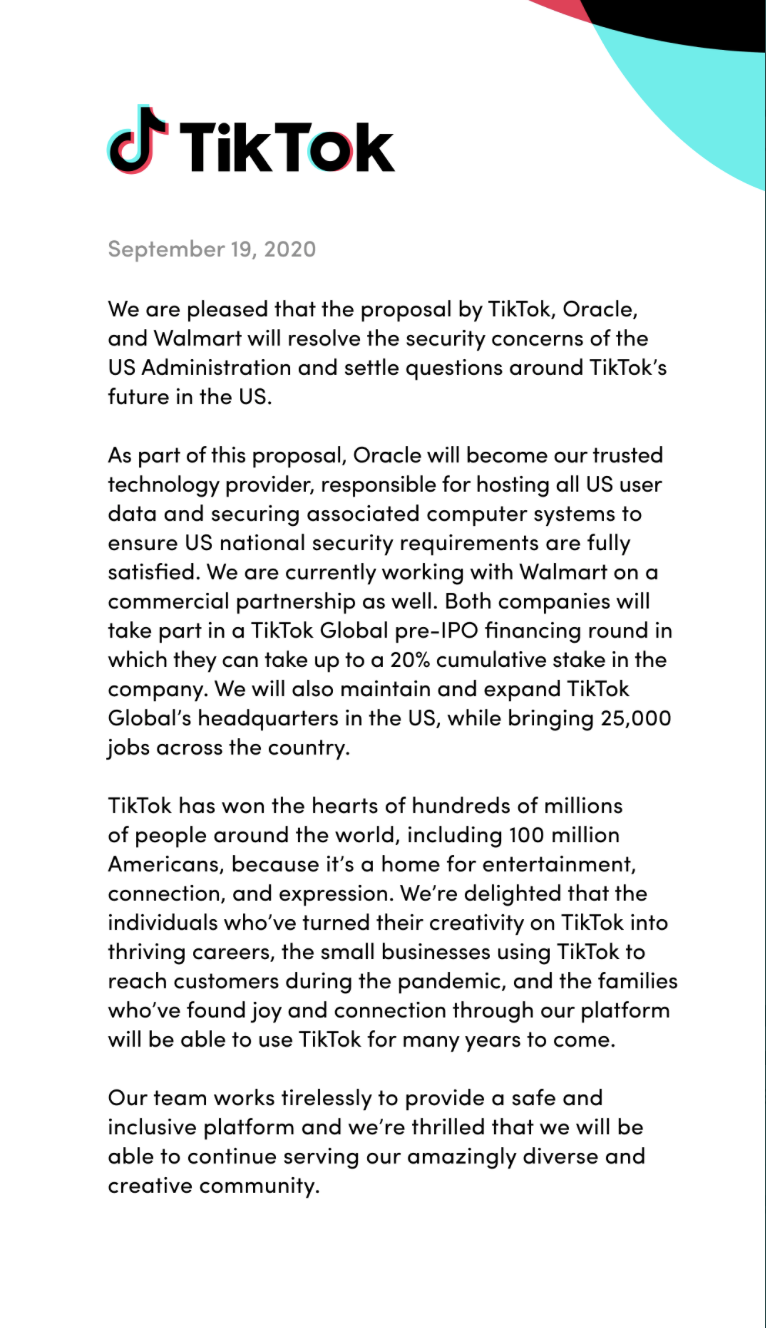TitTok's press release on the deal with Oracle and Walmart.